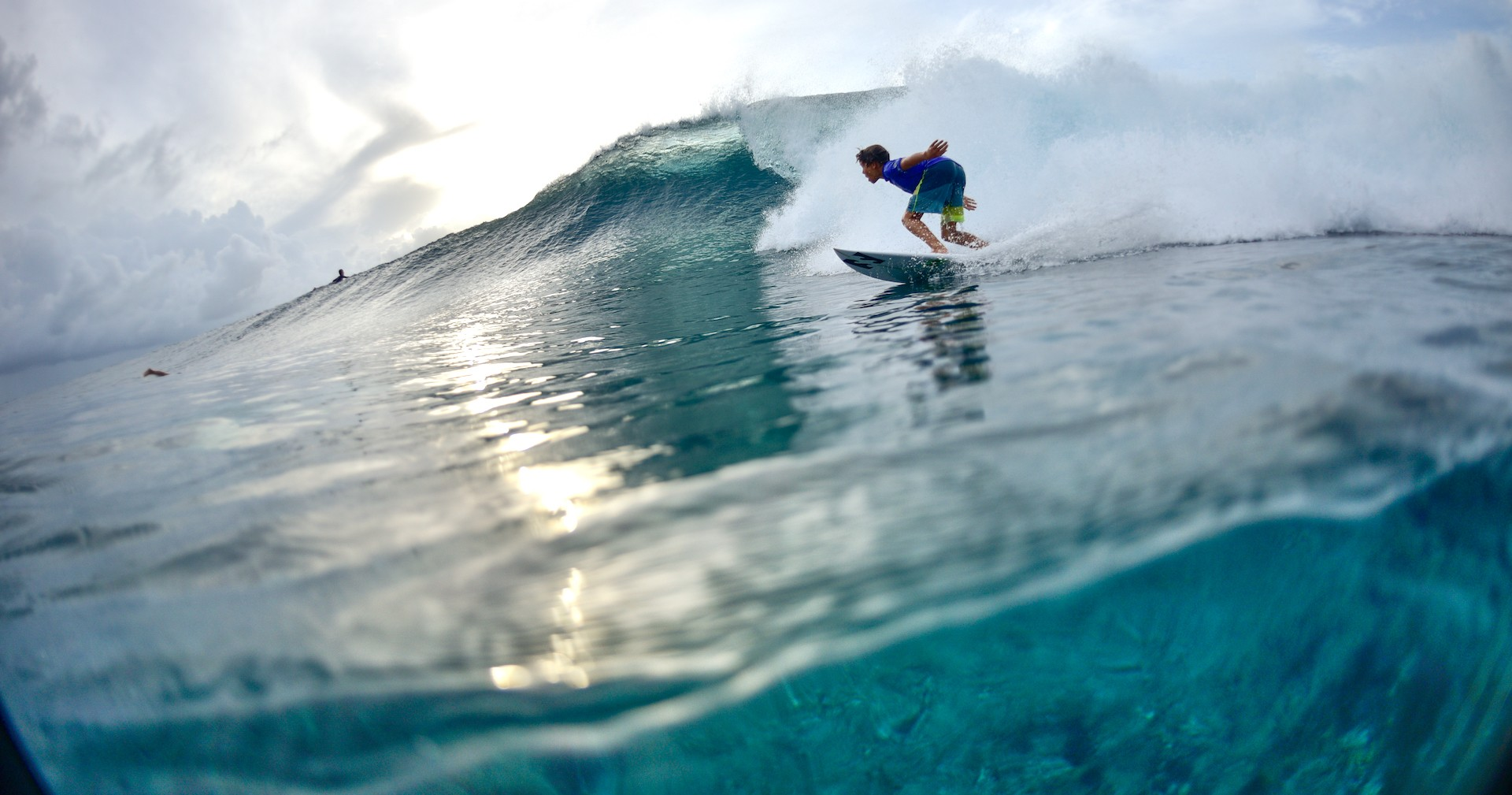 João Mendonça is surfing his favourite custom surfboard the Grom at a boat trip on the Maldives.